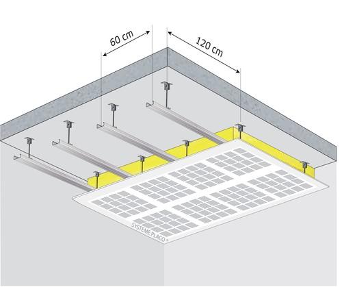 Plafond décoratif et acoustique Gyptone® Activ'Air® Sixto 63 - αw = 0,6 - Plenum 58