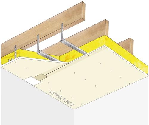 Plafond Placostil® sur fourrures Stil® F 530 - Charpente bois ou métallique - Placoplatre® BA13 - 1,2 m - R15