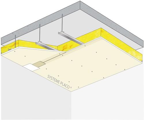 Plafond Placostil® sur fourrures Stil® F 530 - Plancher béton / poutrelles hourdis béton / Planchers mixtes non collaborants - Placoplatre® BA18 - 1,2 m - REI60