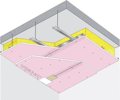 Plafond Placostil® sur fourrures PRF Stil® F 530 - Plancher béton / poutrelles hourdis béton / Planchers mixtes non collaborants - 2x Placoflam® BA15- 1,2 m - REI120