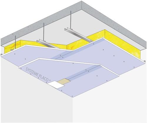 Plafond Placostil® sur fourrures Stil® F 530 - Plancher béton / poutrelles hourdis béton / Planchers mixtes non collaborants - 2x Placophonique® BA13 - 1,2 m - REI60