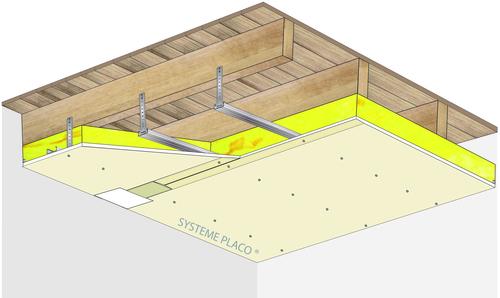 Plafond Placostil® sur fourrures Stil® F 530 - Plancher bois - Placoplatre® BA18 - 1,2 m - REI30