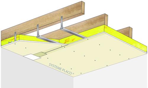 Plafond Placostil® sur fourrures Stil® F 530 - Charpente bois ou métallique - Placoplatre® BA18 - 1,2 m - R30