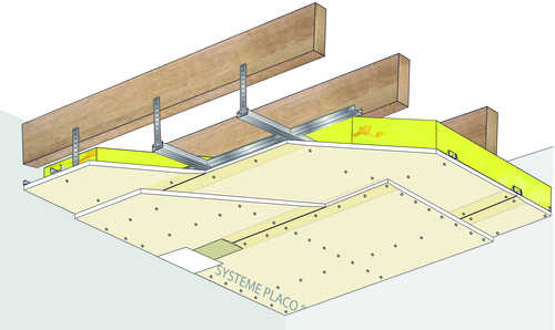 plafond placostil sur fourrures stil f 530 charpente bois ou m tallique 2x placoplatre. Black Bedroom Furniture Sets. Home Design Ideas