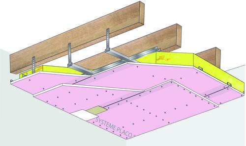 Plafond Placostil® sur fourrures PRF Stil® F 530 - Charpente bois ou métalliques - 2x Placoflam® BA 15 et 100mm de laine de roche- 1,2 m - EI60