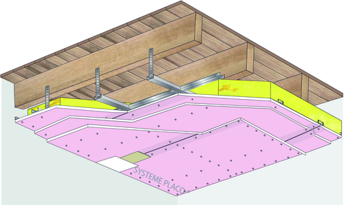 Plafond Placostil® sur fourrures PRF Stil® F 530 - Plancher bois - 3x Placoflam® BA15- 1,2 m - REI120
