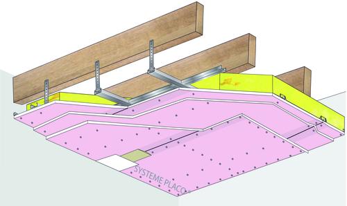 Plafond Placostil® sur fourrures PRF Stil® F 530 - Charpente bois ou métallique - 3x Placoflam® BA15- 1,2 m - REI120