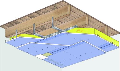 Plafond Placostil® sur fourrures Stil® F 530 - Plancher bois - 2x Placophonique® BA13 - 1,2 m - REI30