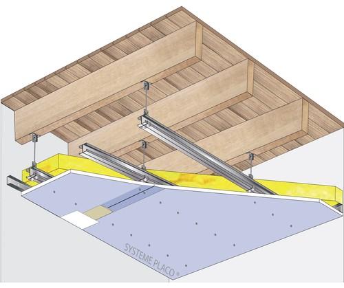 Plafond placostil sur montants plancher bois - Ossature metallique pour faux plafond ...