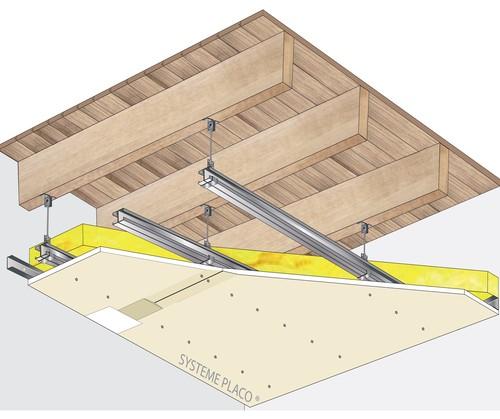 Plafond Placostil® sur montants - Plancher bois - Placoplatre® BA13 - 3,7 m - REI15