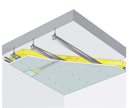 Plafond pour locaux très humides Glasroc® H Ocean 13 - Plancher béton / poutrelles hourdis béton / Planchers mixtes non collaborants - 3,1 m