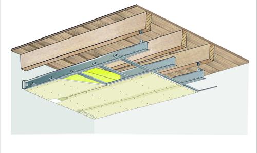 Plafond longue portée Stil Prim® Tech - Plancher bois - Placoplatre® BA13 - 3,8 m - REI15