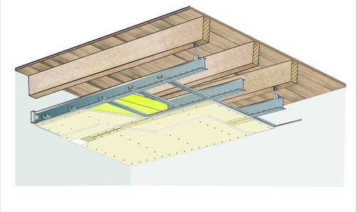 Plafond longue portée Stil Prim® Tech - Plancher bois -2x Placoplatre® BA13 - 3,6 m - REI30