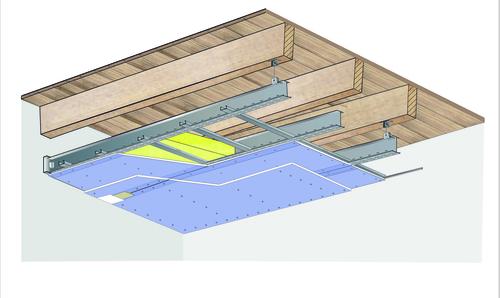 Plafond longue portée Stil Prim® Tech - Plancher bois - 2x Placophonique® BA13 - 3,65 m - REI30