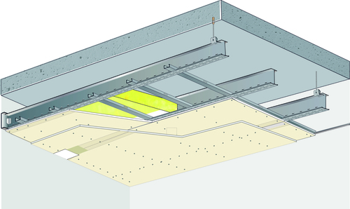 Plafond longue portée Stil Prim® Tech - Plancher béton / poutrelles hourdis béton / Planchers mixtes non collaborants -2x Placoplatre® BA13 - 3,75 m - REI60