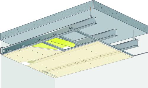 Plafond longue portée Stil Prim® Tech - Plancher béton / poutrelles hourdis béton / Planchers mixtes non collaborants - Placoplatre® BA18 - 3,85 m - REI60