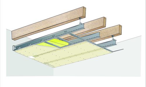 Plafond longue portée Stil Prim® Tech - Charpente bois ou métallique - Placoplatre® BA13 - 4 m - REI15