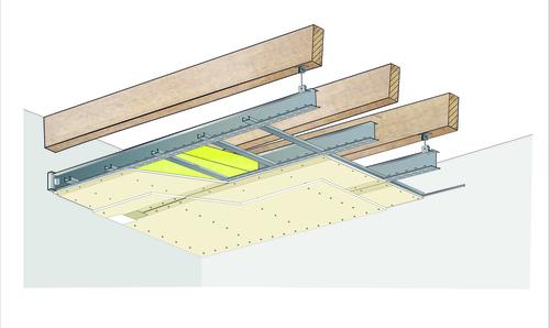 Plafond longue portée Stil Prim® Tech - Charpente bois ou métallique - 2x Placoplatre® BA13 - 3,8 m - R30