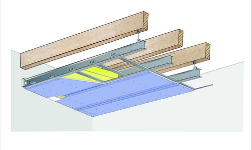 Plafond longue portée Stil Prim® Tech - Charpente bois ou métallique - Placophonique® BA13 - 4,15 m - R15
