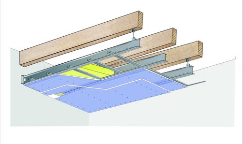 Plafond longue portée Stil Prim® Tech - Charpente bois ou métallique - 2x Placophonique® BA13 - 3,6 m - R30