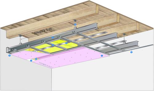Plafond longue portée Stil Prim® Tech - Plancher bois - Placoflam® BA15 - 3,3 m - REI30