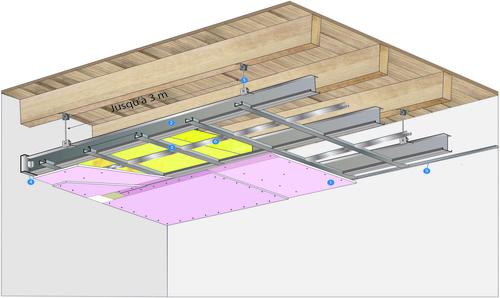 Plafond longue portée Stil Prim® Tech - Plancher bois - 2x Placoflam® BA15 - 3,3 m - REI90