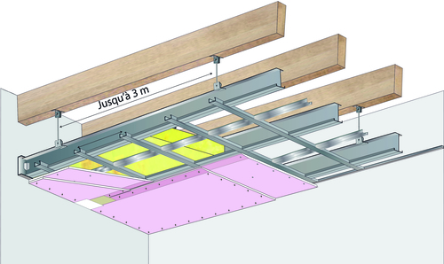 Plafond longue portée Stil Prim® Tech - Charpente bois ou métallique - 2x Placoflam® BA13 - 3,3 m - R60