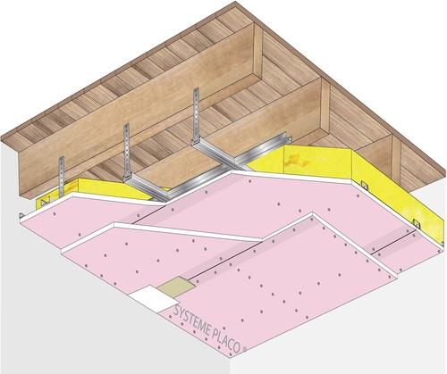 Plafond Placostil® sur fourrures PRF Stil® F 530 - Plancher bois - 2x Placoflam® BA15- 1,2 m - REI90