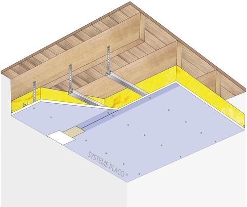 Plafond Placostil® sur fourrures Stil® F 530 - Plancher bois - Placophonique® BA13 - 1,2 m - REI15